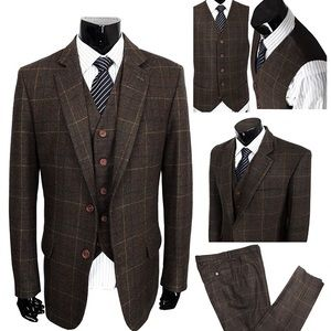 Other - Classic Brown Wool Blend 3 Pieces Check Plaid suit